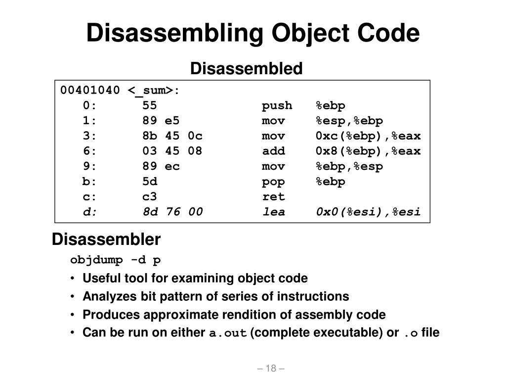 Disassembling Object Code
