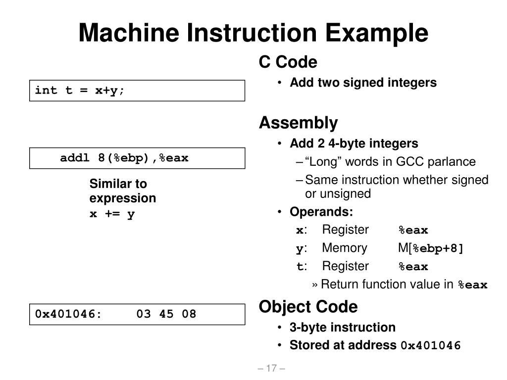 Machine Instruction Example