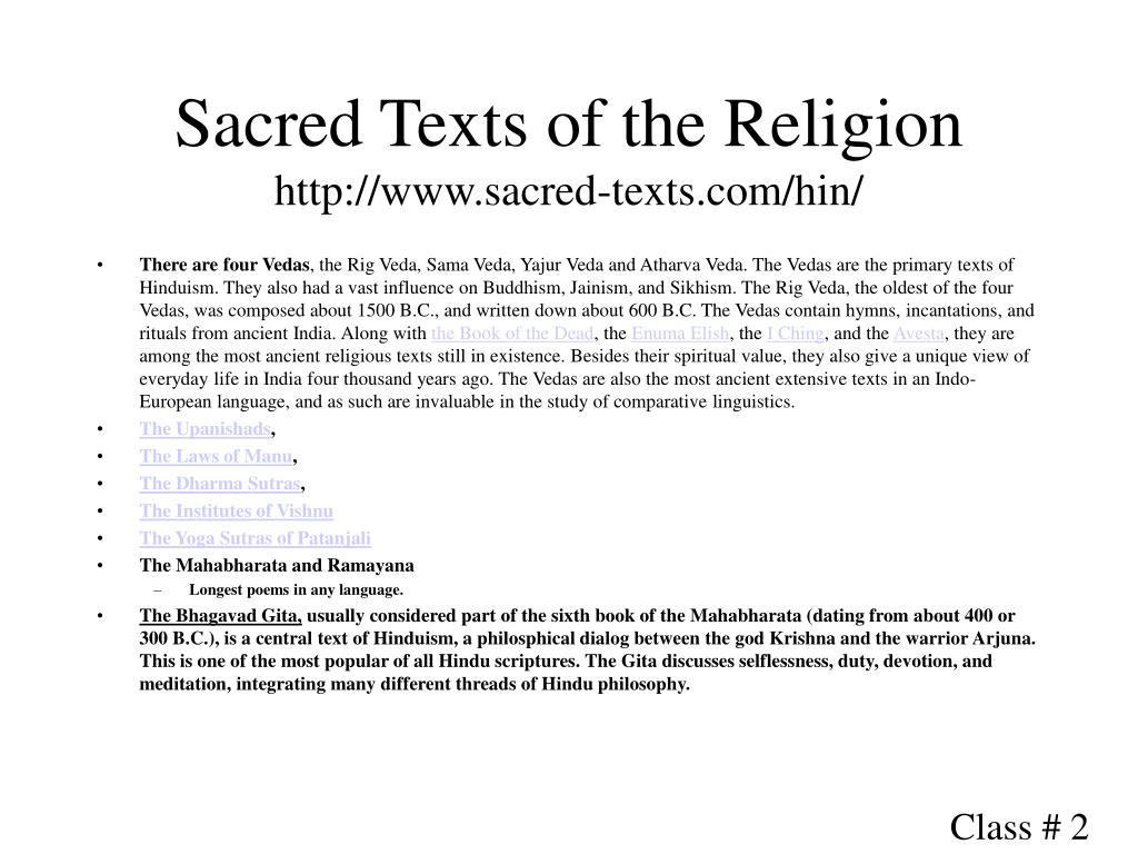 Sacred Texts of the Religion