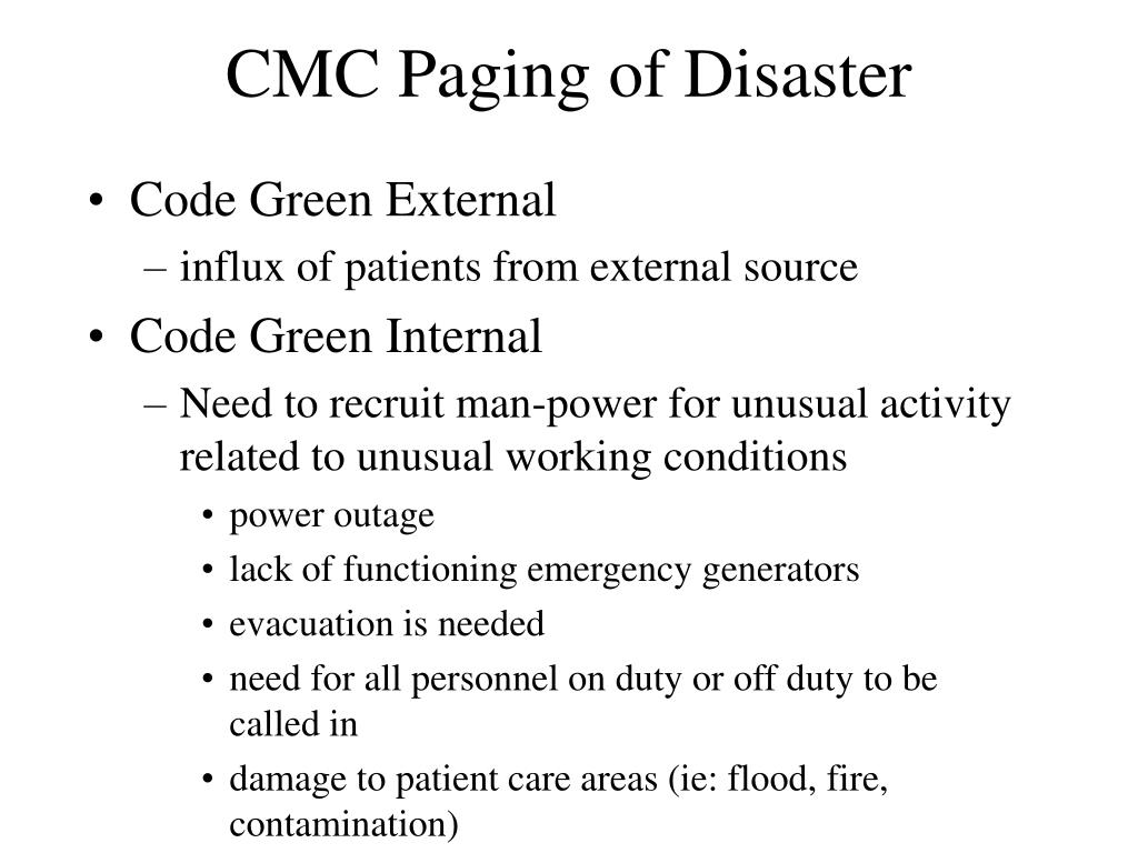 CMC Paging of Disaster
