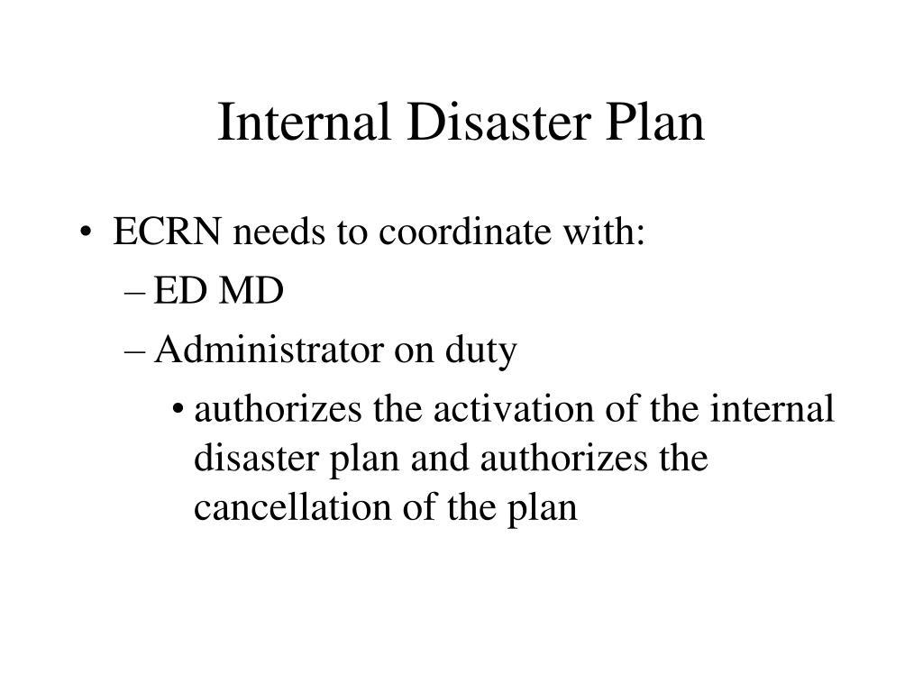 Internal Disaster Plan