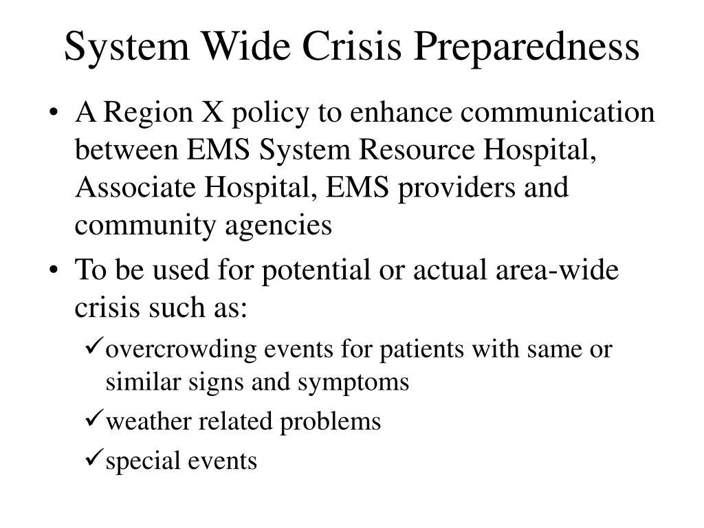 System Wide Crisis Preparedness