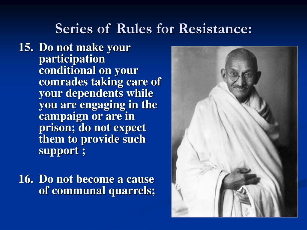 Series of Rules for Resistance: