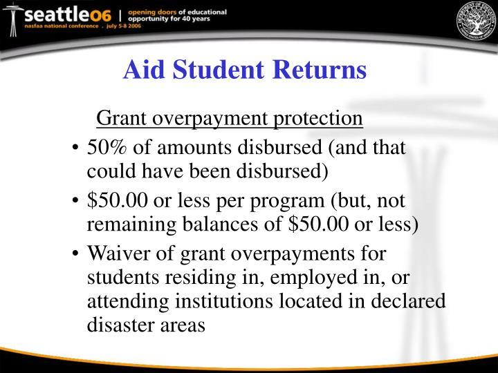 Aid Student Returns