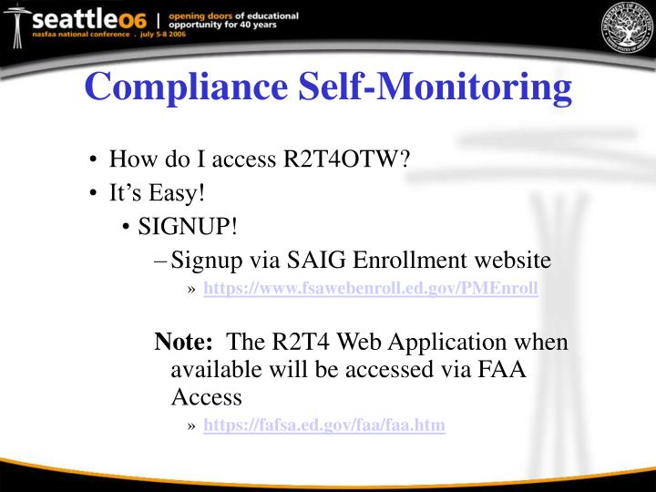 Compliance Self-Monitoring