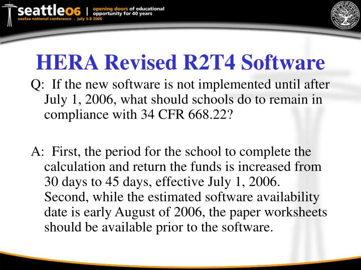 HERA Revised R2T4 Software