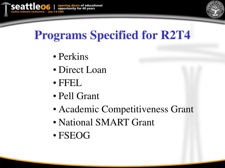 Programs Specified for R2T4