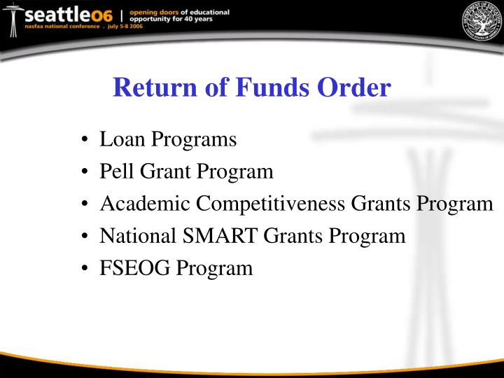 Return of Funds Order
