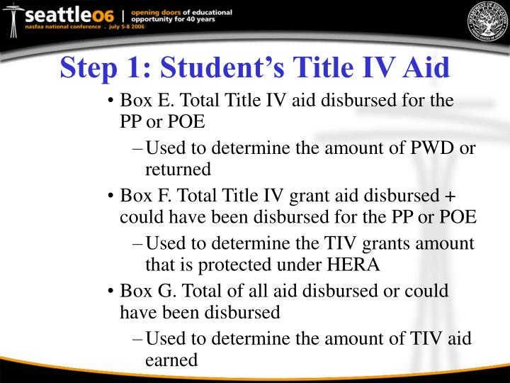 Step 1: Student's Title IV Aid