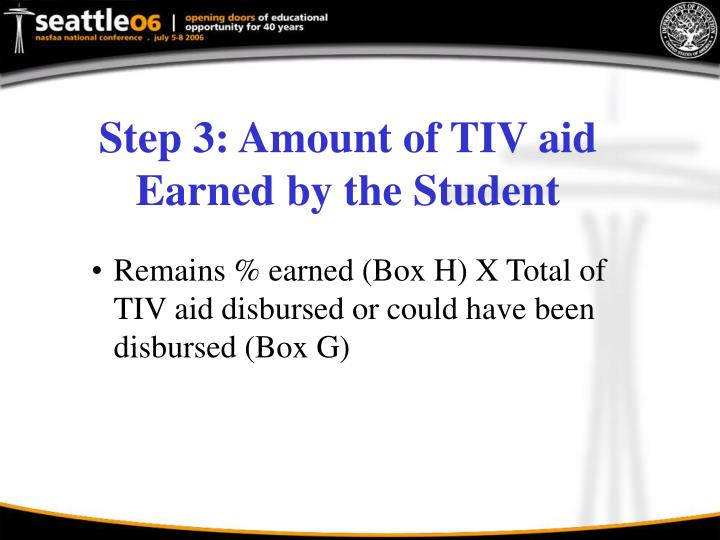 Step 3: Amount of TIV aid Earned by the Student