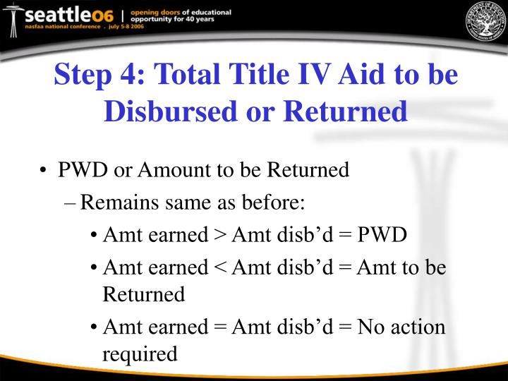 Step 4: Total Title IV Aid to be Disbursed or Returned