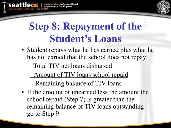 Step 8: Repayment of the Student's Loans