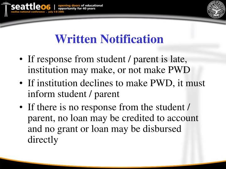 Written Notification