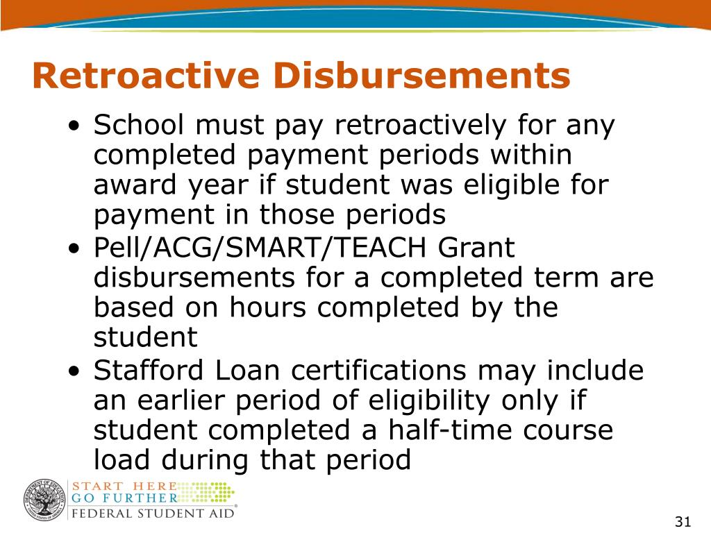 Retroactive Disbursements