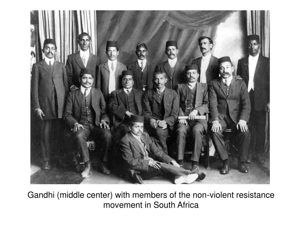 Gandhi (middle center) with members of the non-violent resistance movement in South Africa