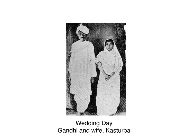 Wedding day gandhi and wife kasturba