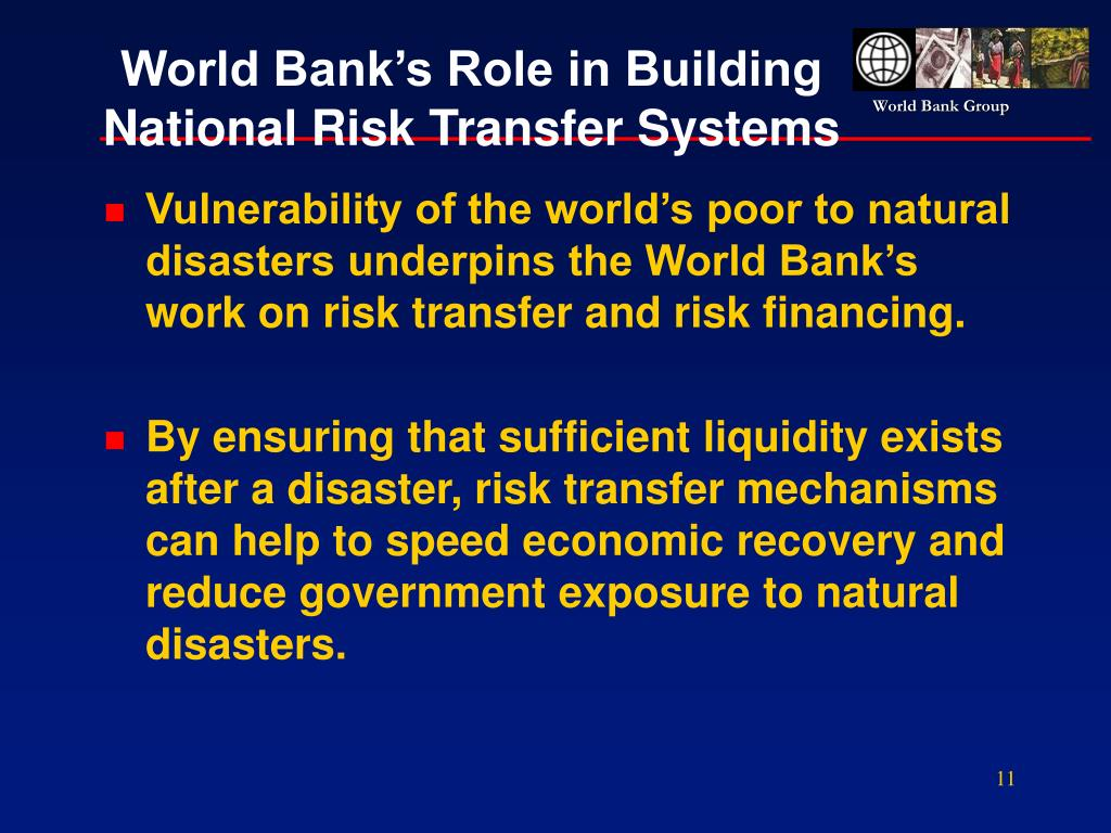 World Bank's Role in Building National Risk Transfer Systems