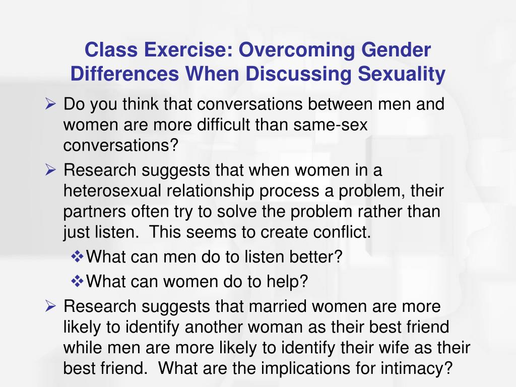 Class Exercise: Overcoming Gender Differences When Discussing Sexuality