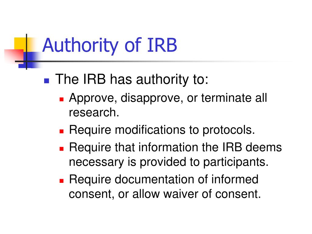 Authority of IRB