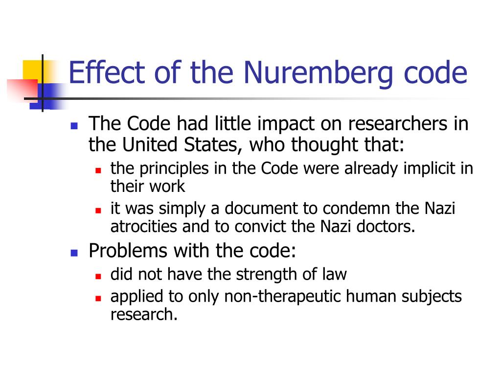 Effect of the Nuremberg code
