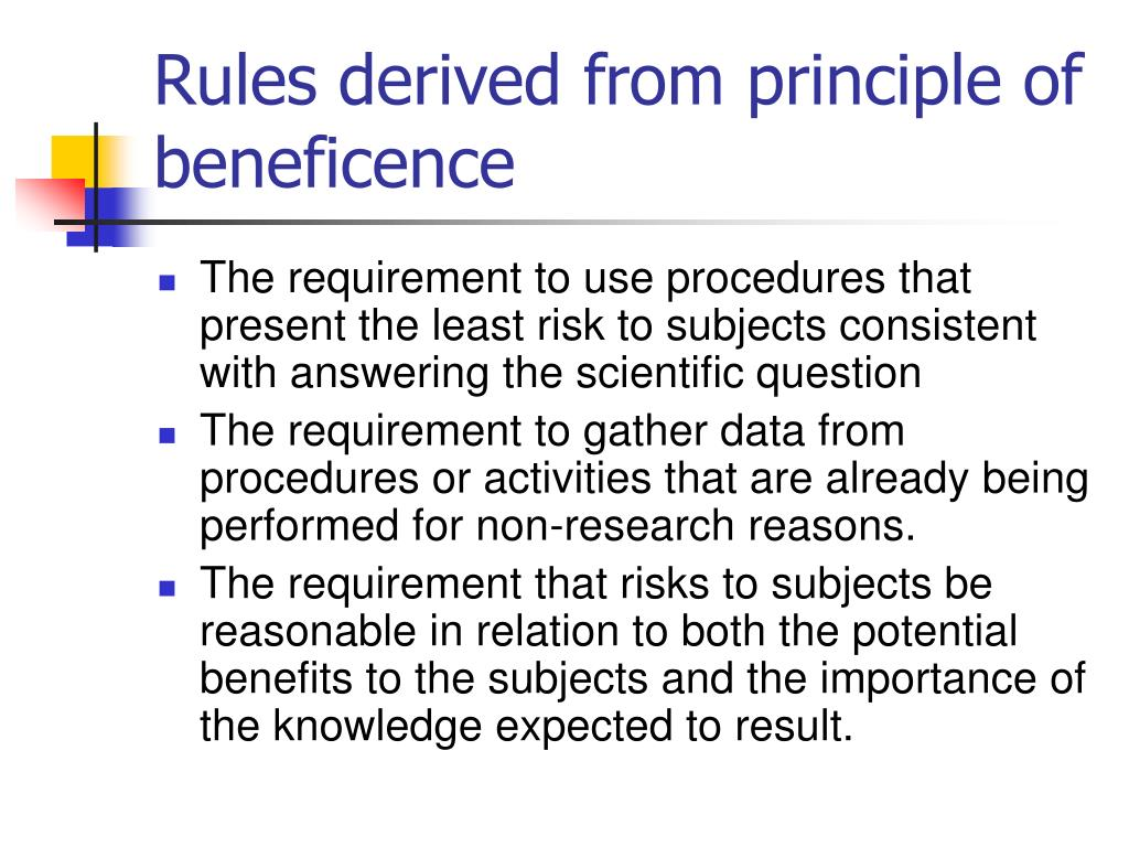 Rules derived from principle of beneficence