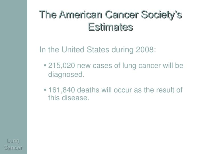 The american cancer society s estimates
