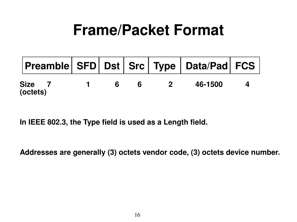 Frame/Packet Format