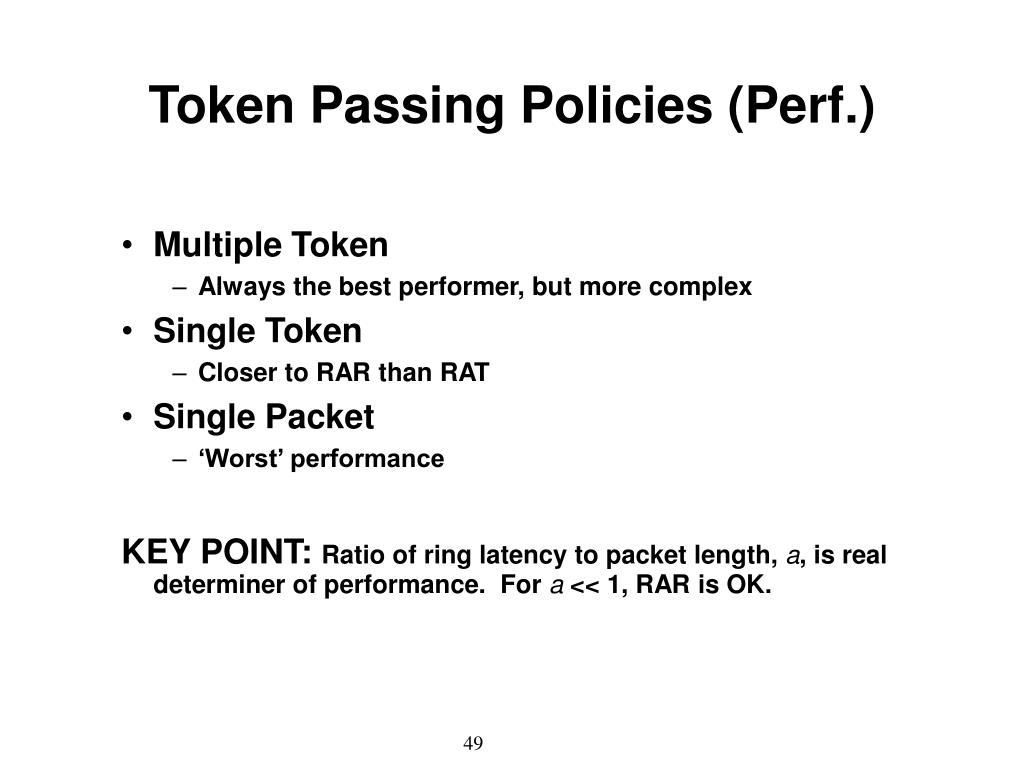 Token Passing Policies (Perf.)