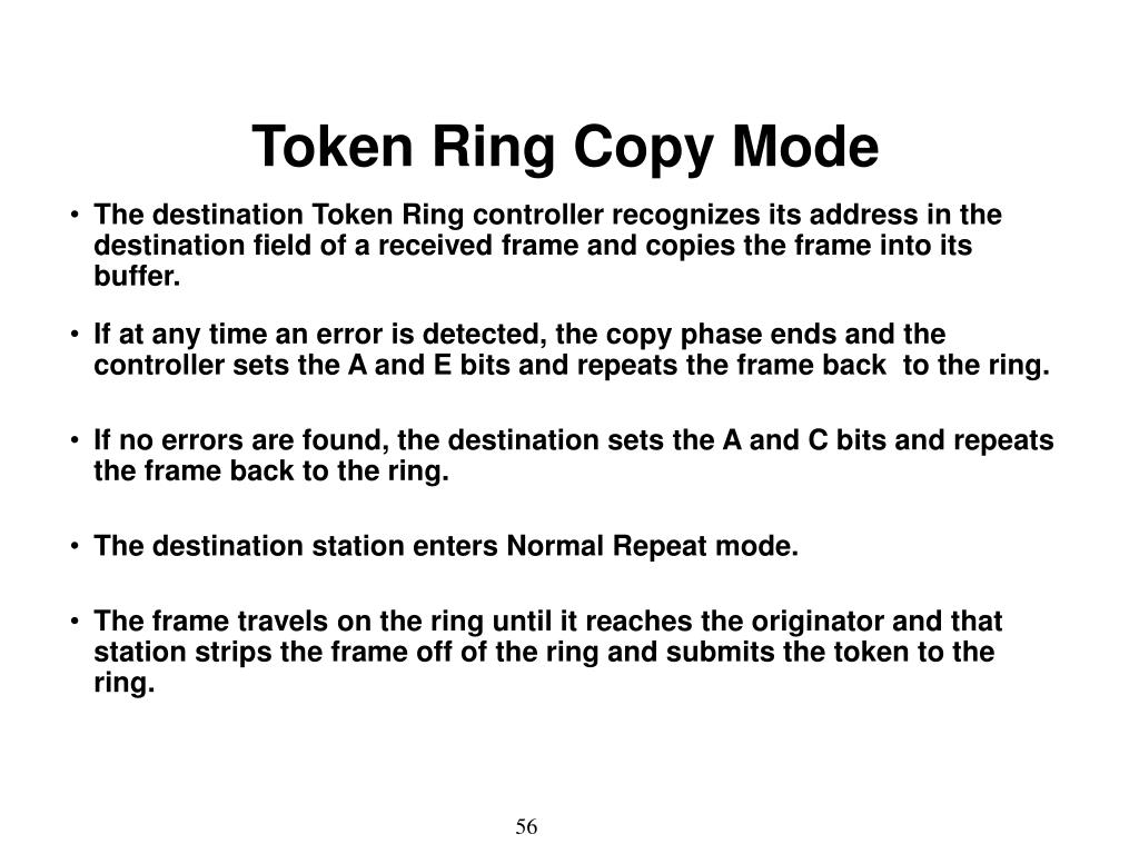 Token Ring Copy Mode
