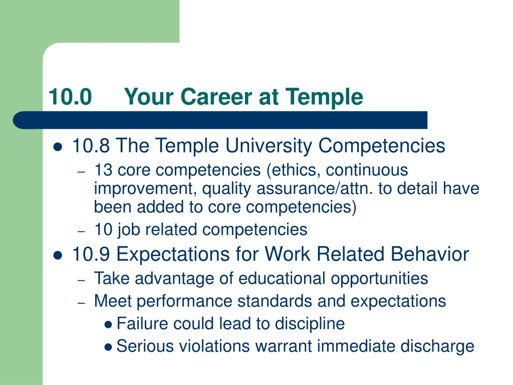 10.0     Your Career at Temple
