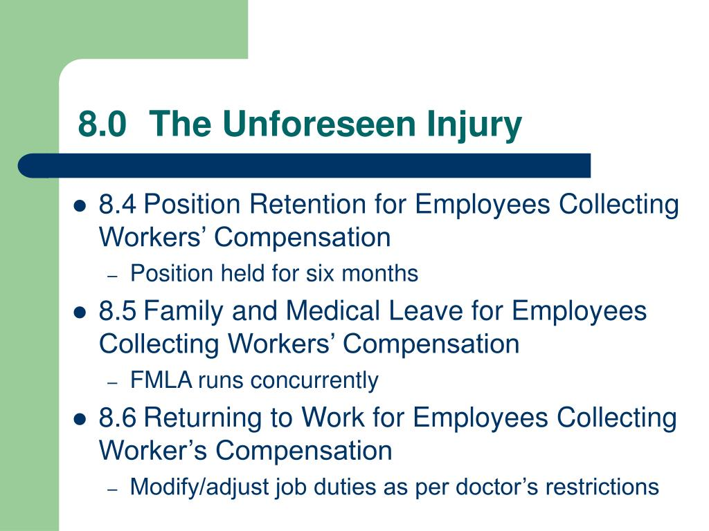 8.0	The Unforeseen Injury