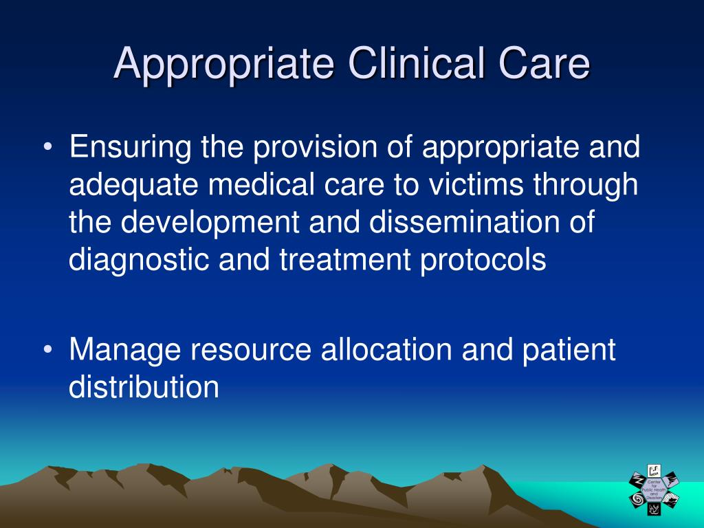 Appropriate Clinical Care