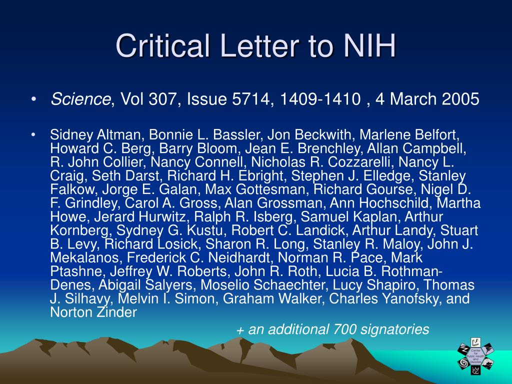 Critical Letter to NIH