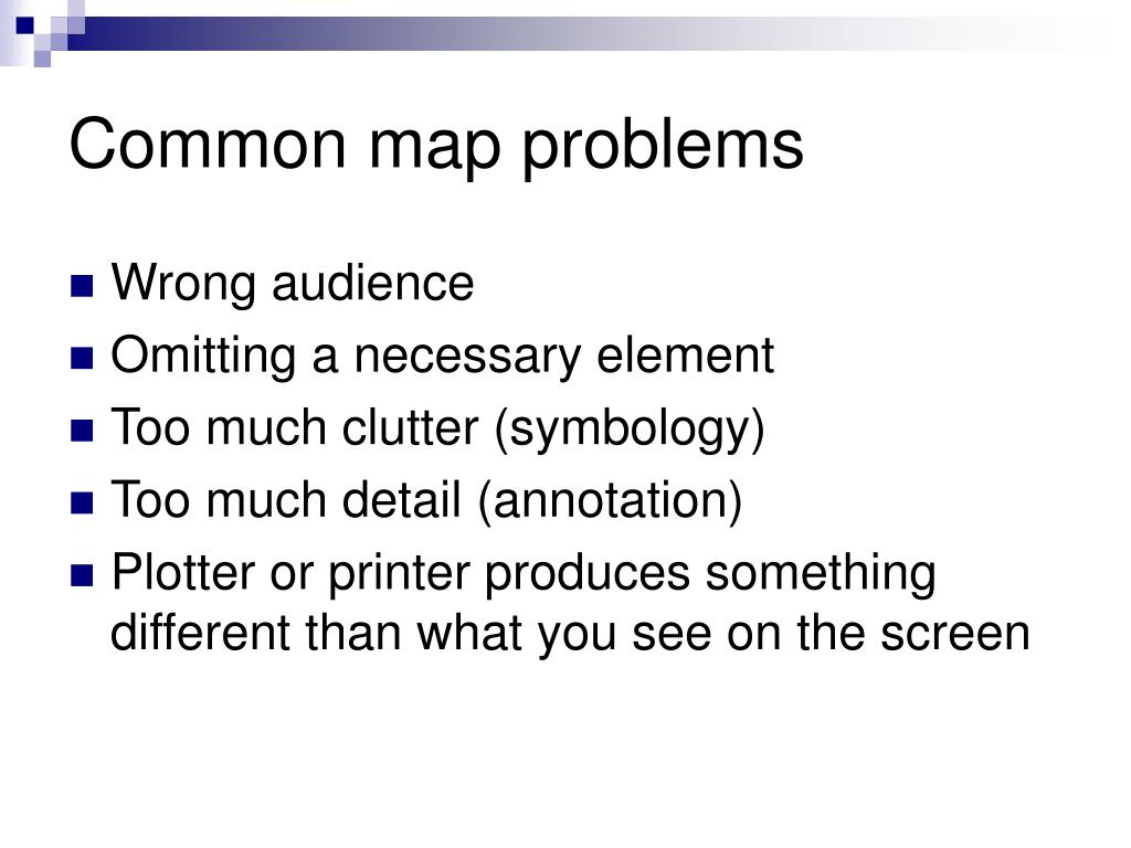 Common map problems