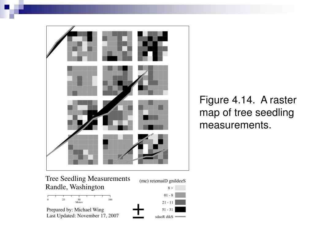 Figure 4.14.  A raster map of tree seedling measurements.