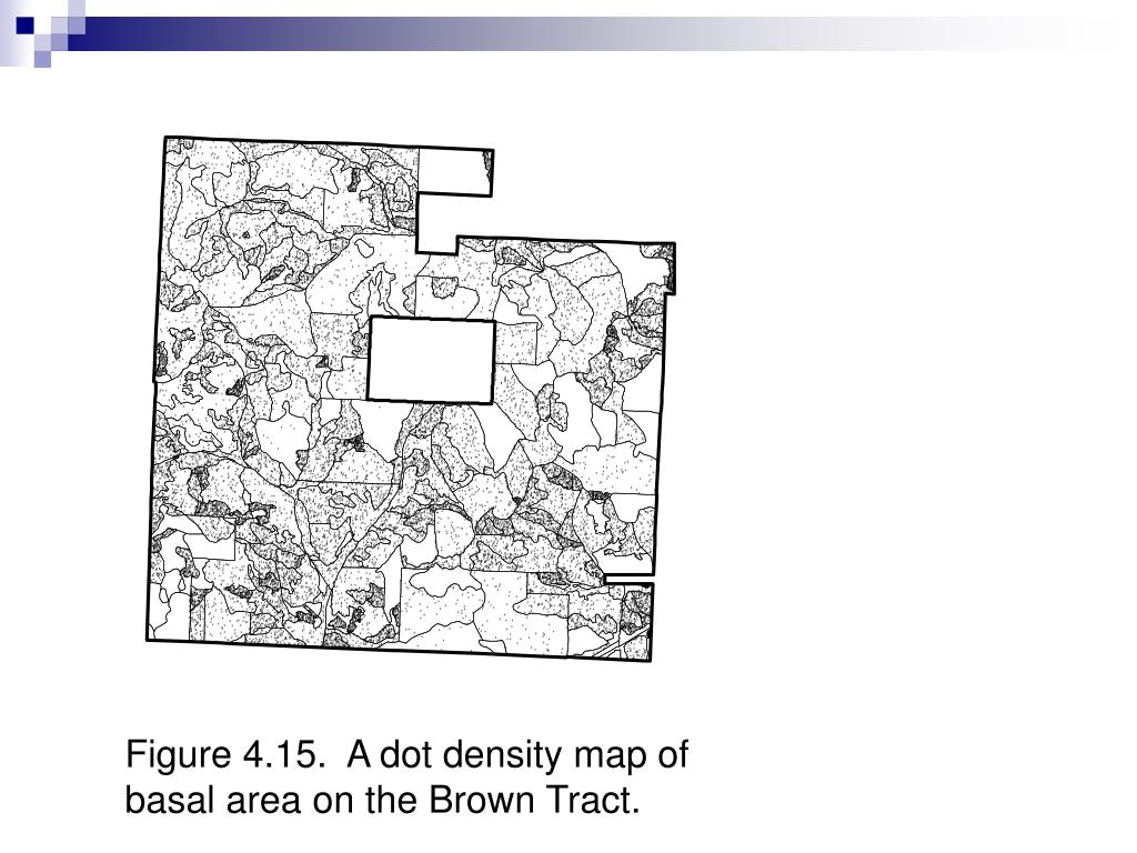 Figure 4.15.  A dot density map of basal area on the Brown Tract.