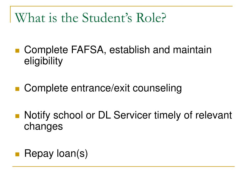 What is the Student's Role?