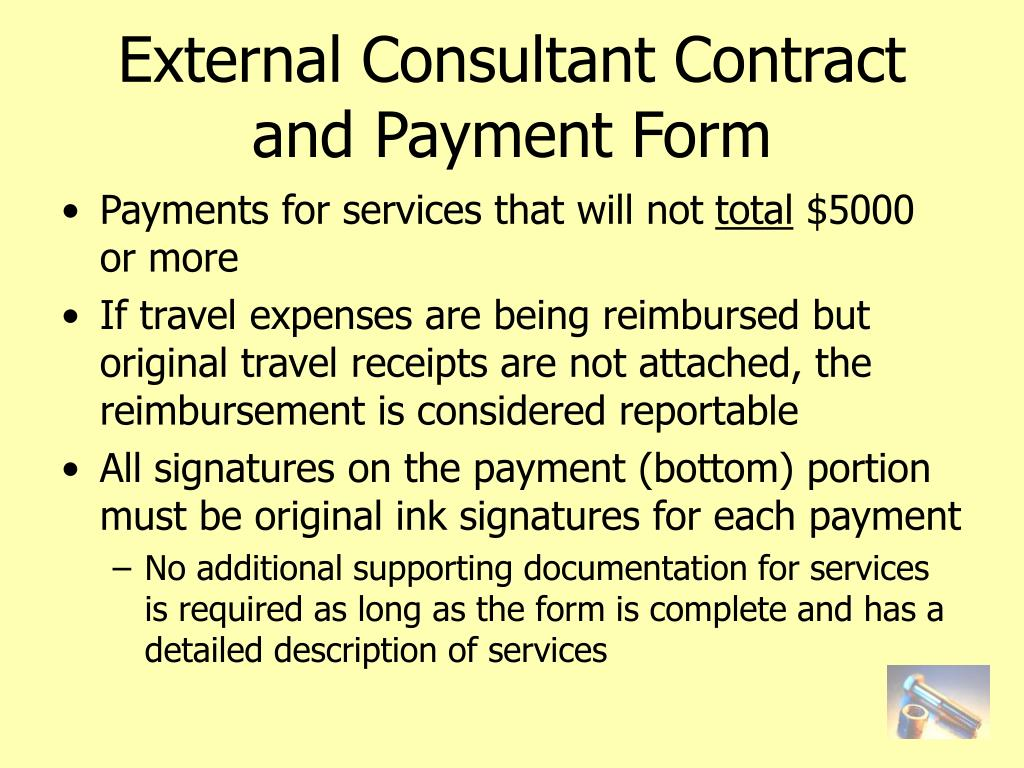 External Consultant Contract and Payment Form