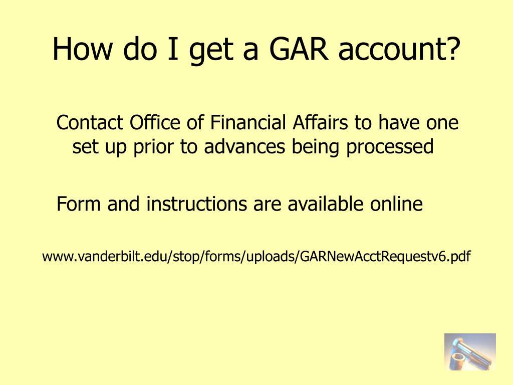 How do I get a GAR account?