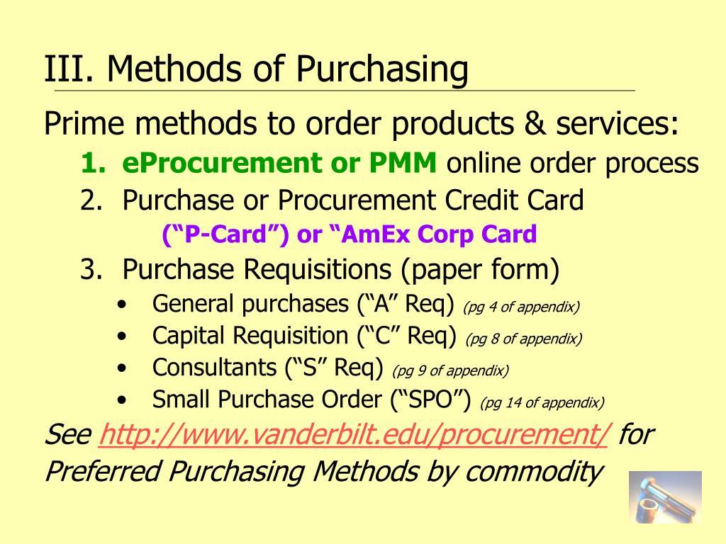 III. Methods of Purchasing