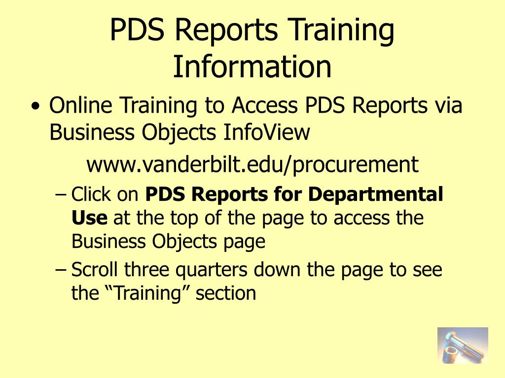 PDS Reports Training Information
