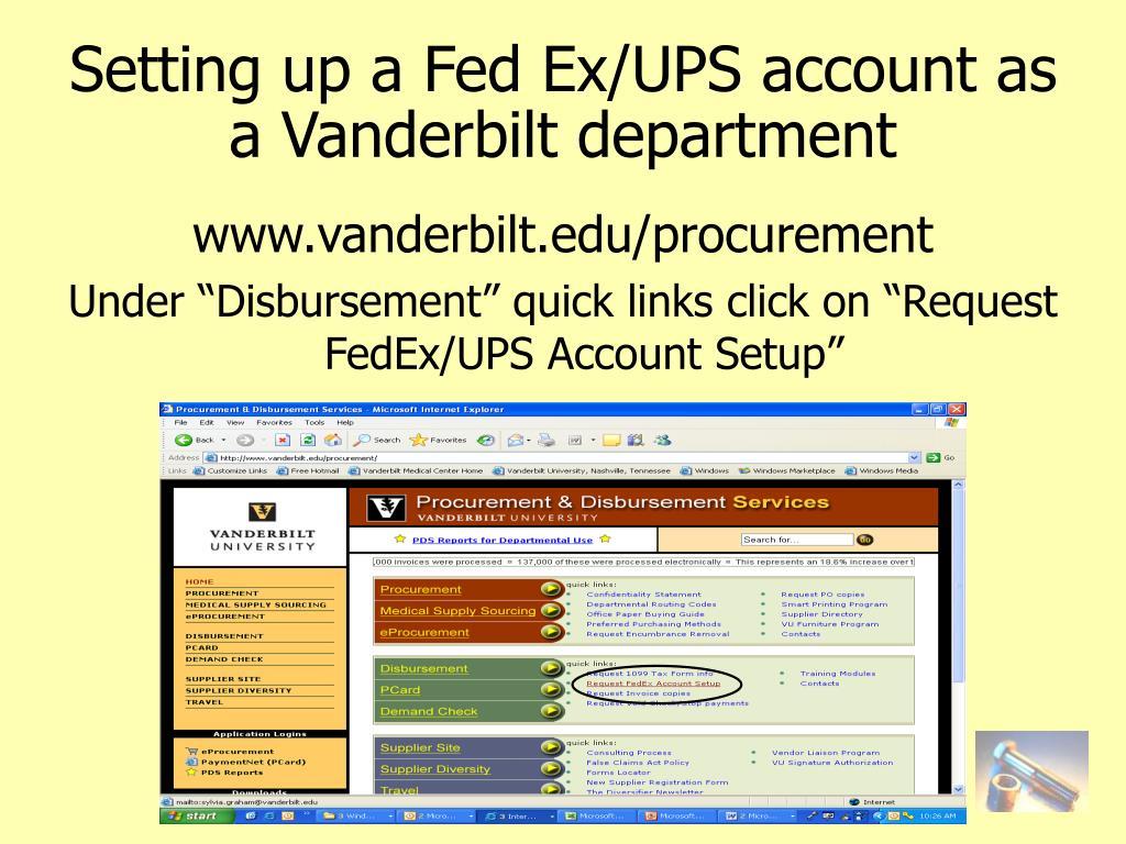 Setting up a Fed Ex/UPS account as a Vanderbilt department