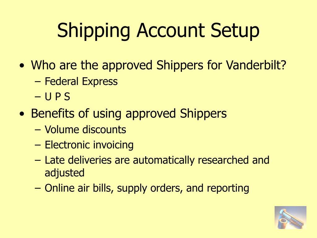 Shipping Account Setup