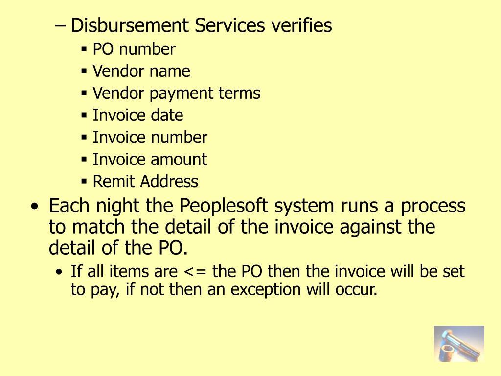 Disbursement Services verifies