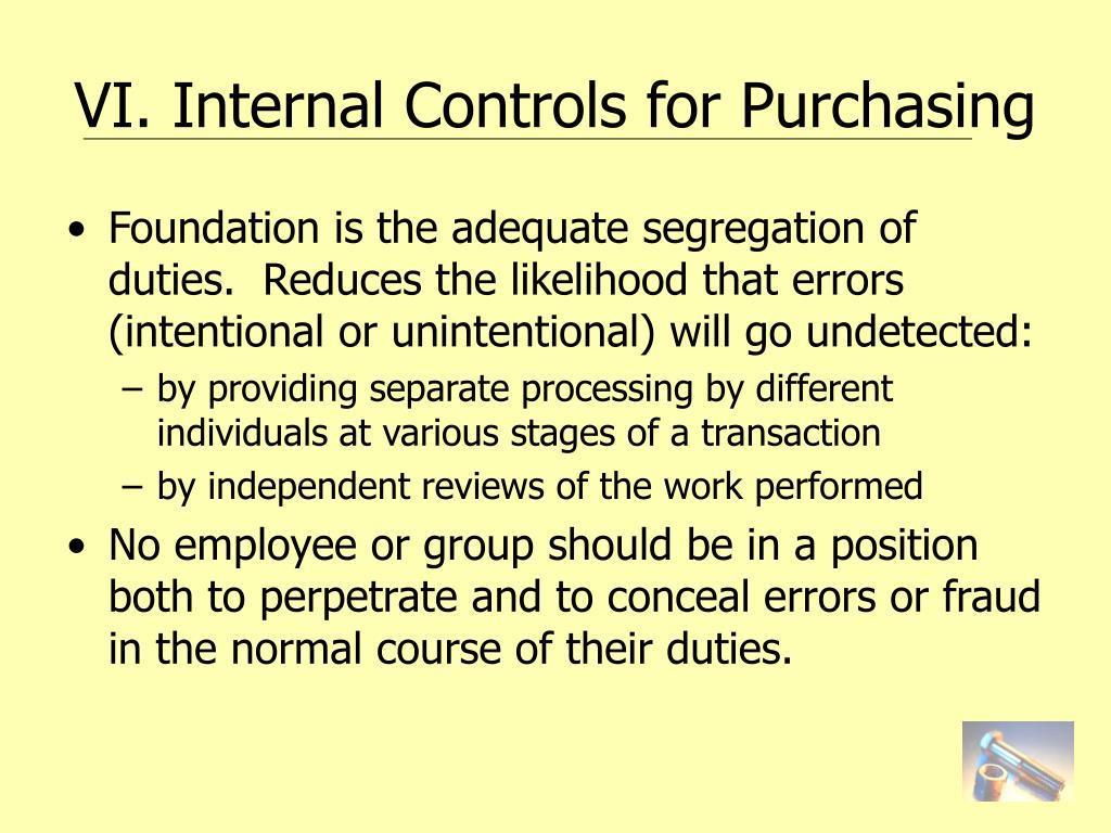 VI. Internal Controls for Purchasing