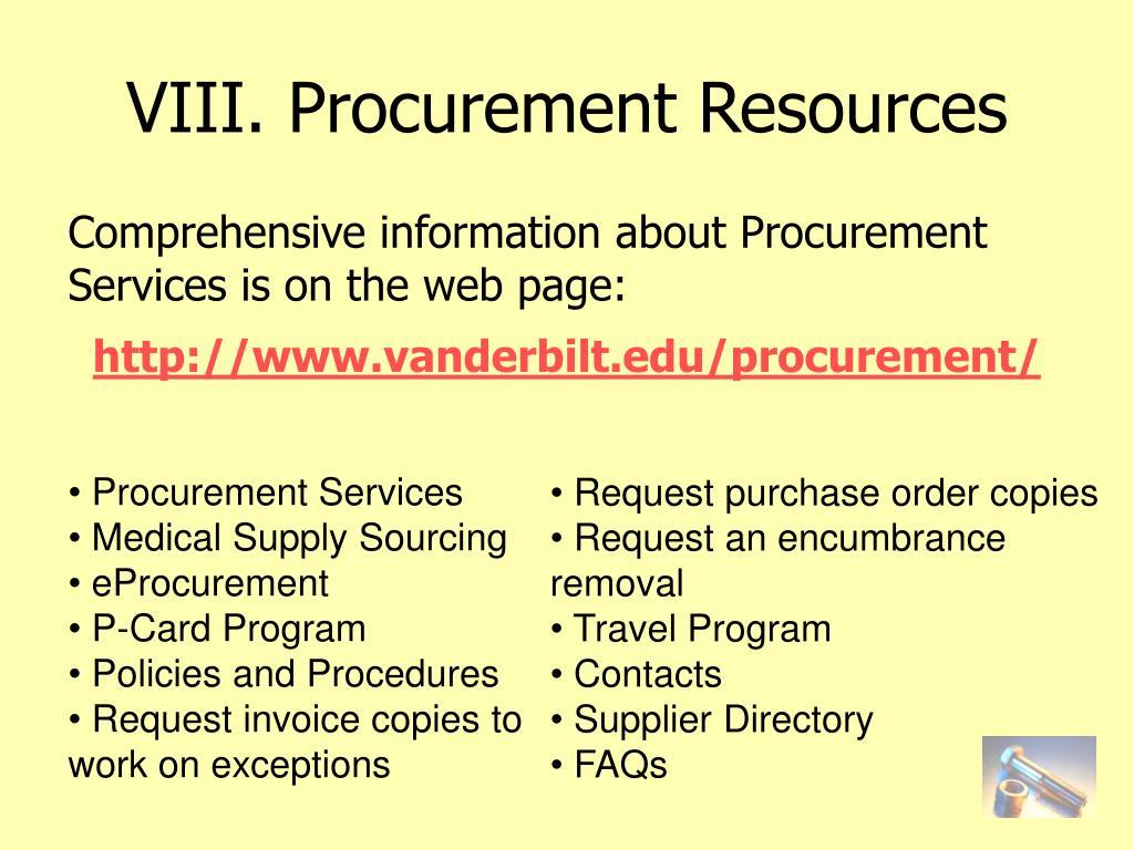 VIII. Procurement Resources