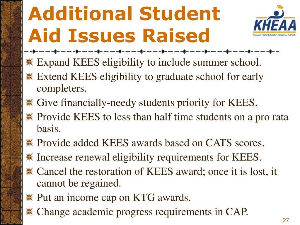 Additional Student Aid Issues Raised