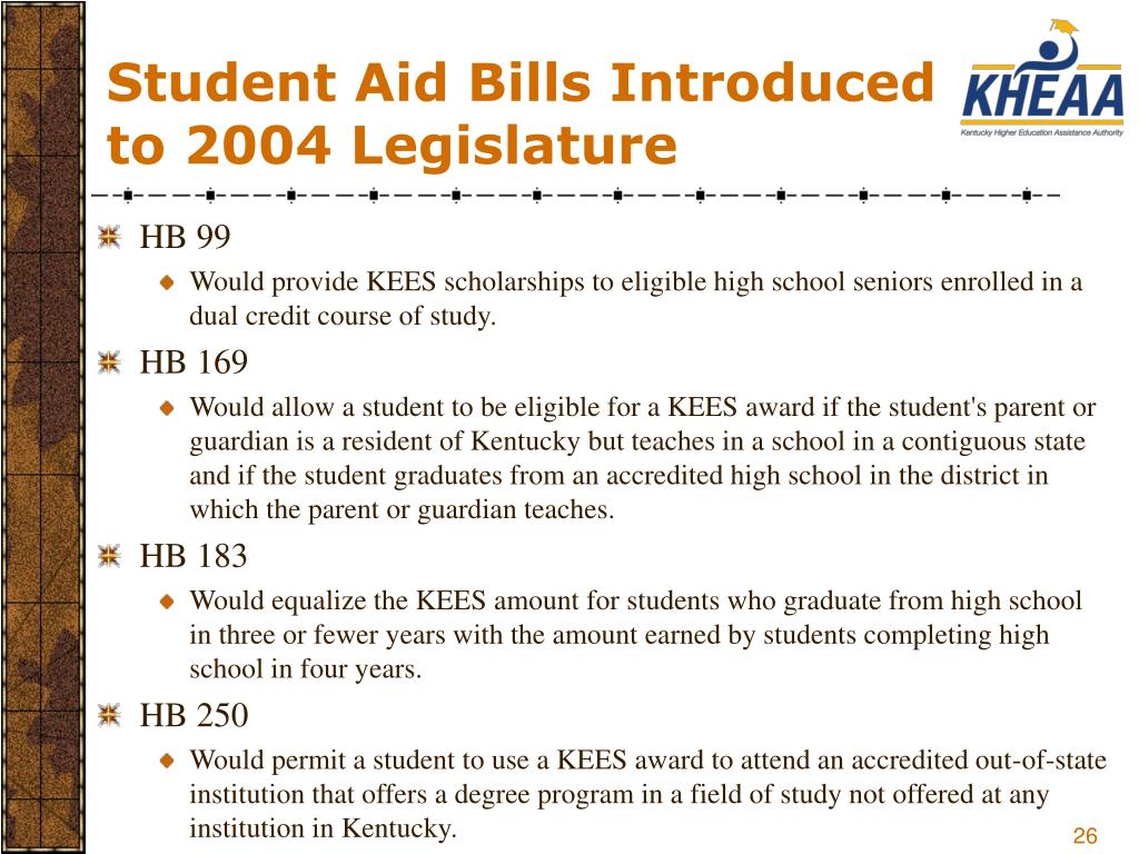 Student Aid Bills Introduced to 2004 Legislature