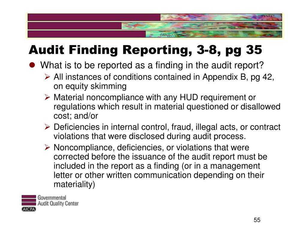 Audit Finding Reporting, 3-8, pg 35