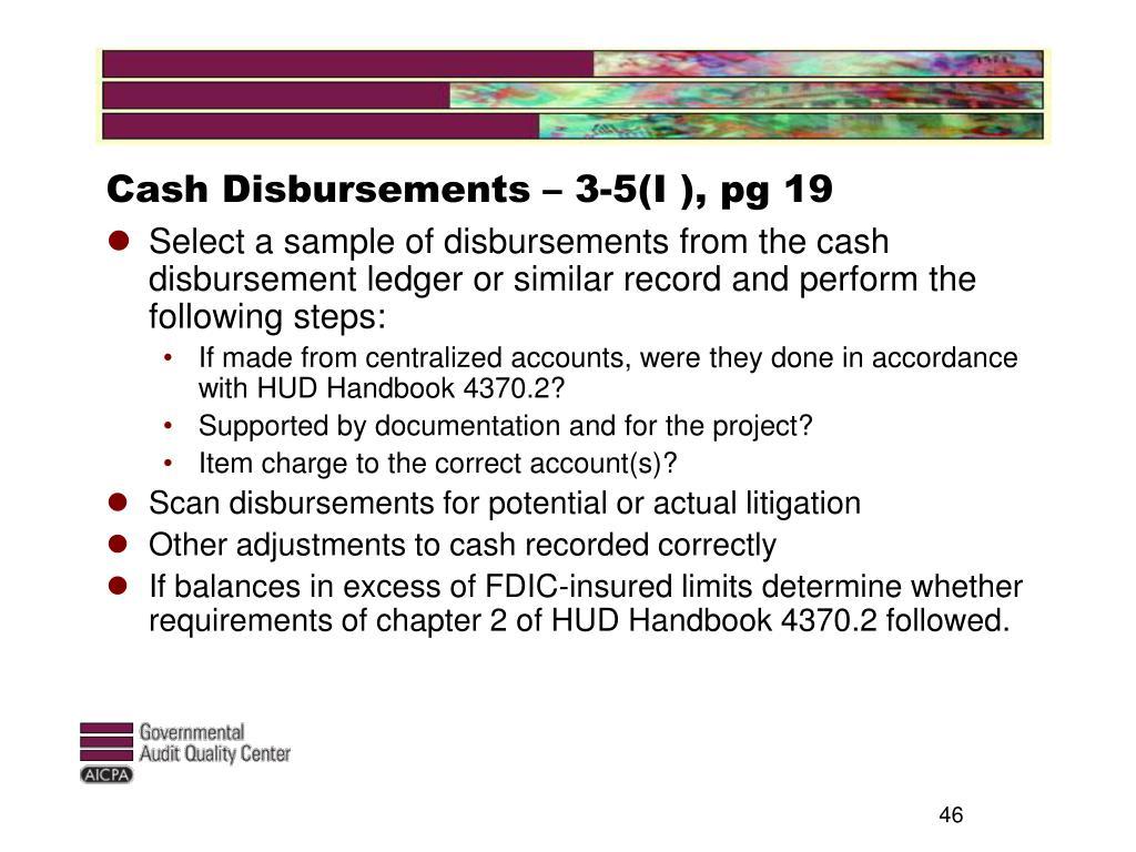 Cash Disbursements – 3-5(I ), pg 19